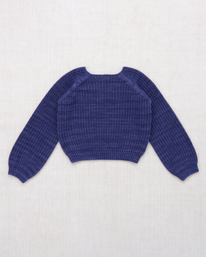 Little misha + puff girl net stitch sweater in blue violet