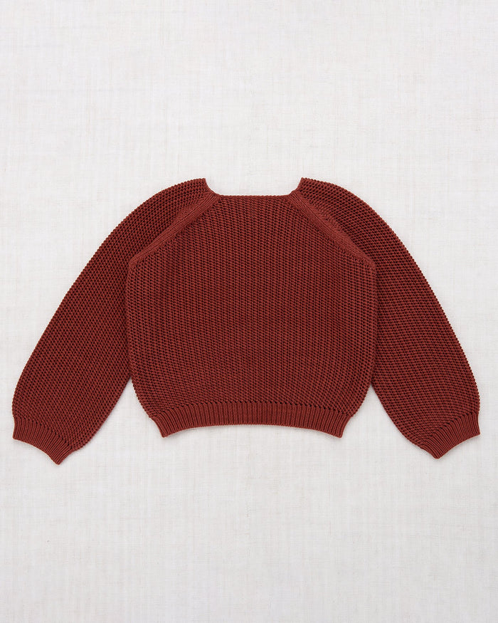 Little misha + puff girl net stitch sweater in cocoa bean