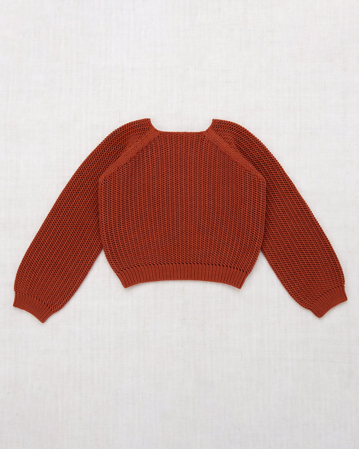 Little misha + puff girl net stitch sweater in paprika
