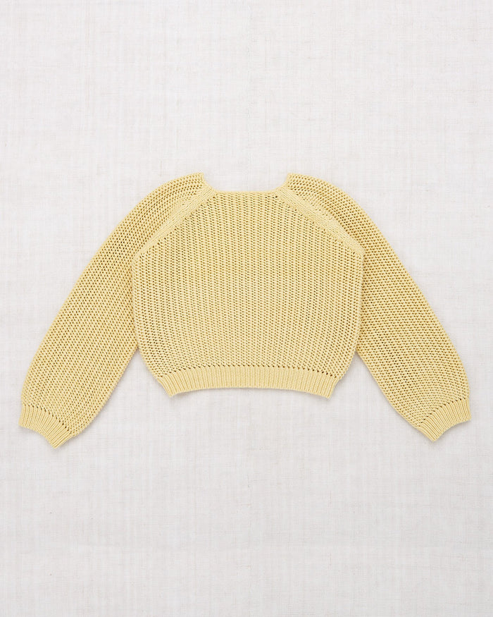 Little misha + puff girl net stitch sweater in straw