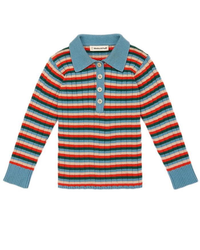 Little misha + puff boy orion stripe henley in blue smoke