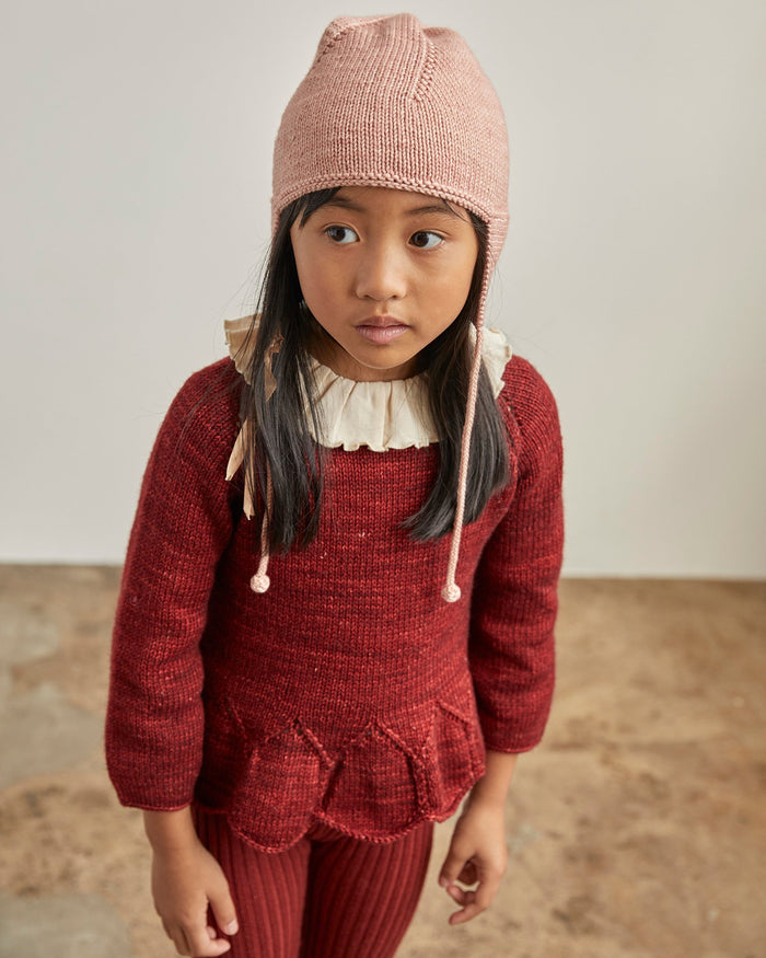 Little misha + puff girl peplum pullover in brick