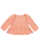 Little misha + puff girl peplum pullover in coral
