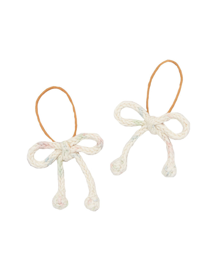 Little misha + puff accessories popcorn bow elastic set in faded space dye