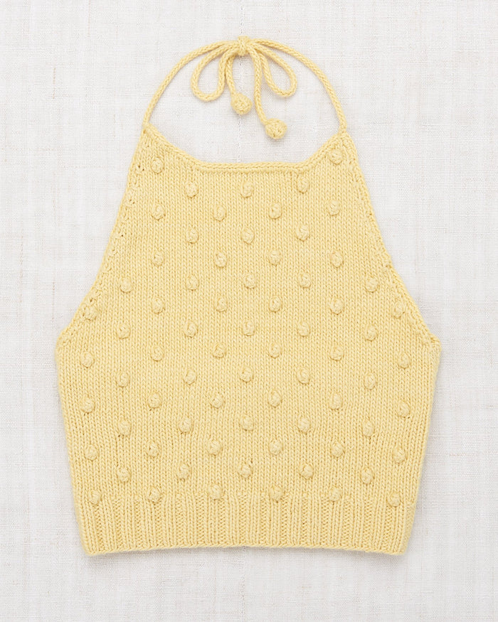 Little misha + puff girl popcorn halter top in straw