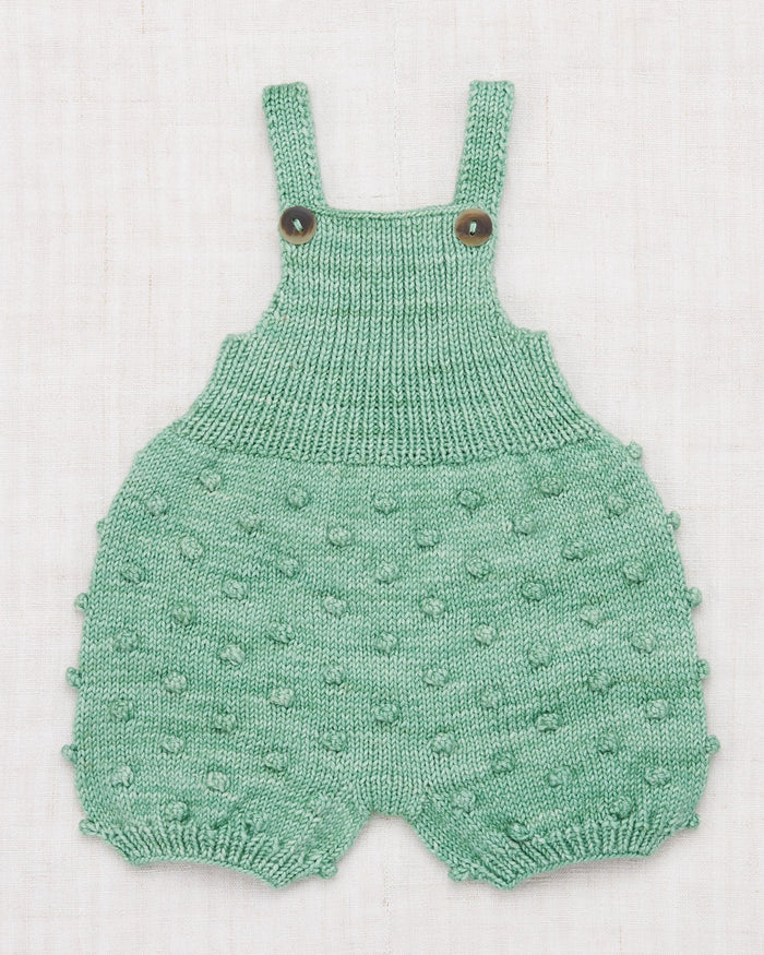 Little misha + puff baby girl popcorn romper in celadon