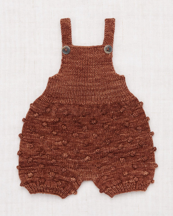 Little misha + puff baby girl popcorn romper in chestnut