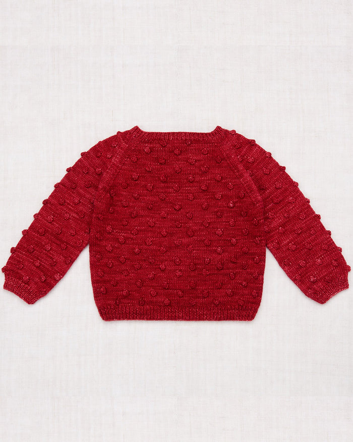 Little misha + puff girl popcorn sweater in berry