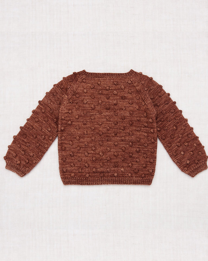 Little misha + puff girl popcorn sweater in chestnut