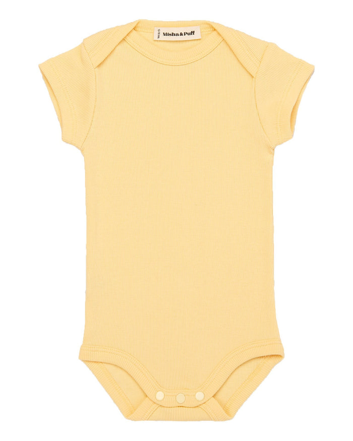 Little misha + puff baby girl ribbed onesie in butter