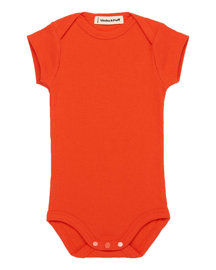 Little misha + puff baby girl ribbed onesie in crimson red