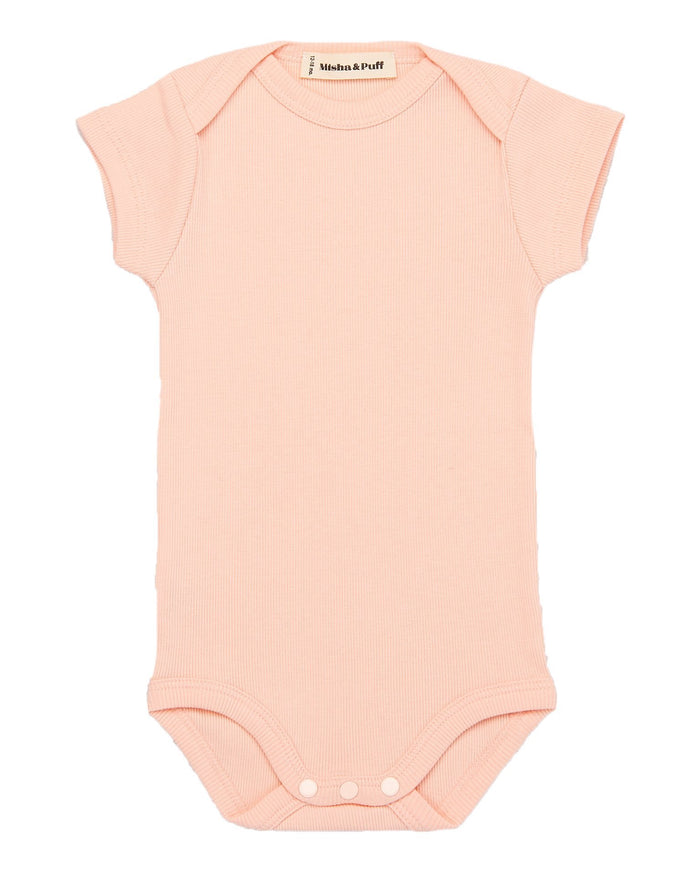 Little misha + puff baby girl ribbed onesie in petal
