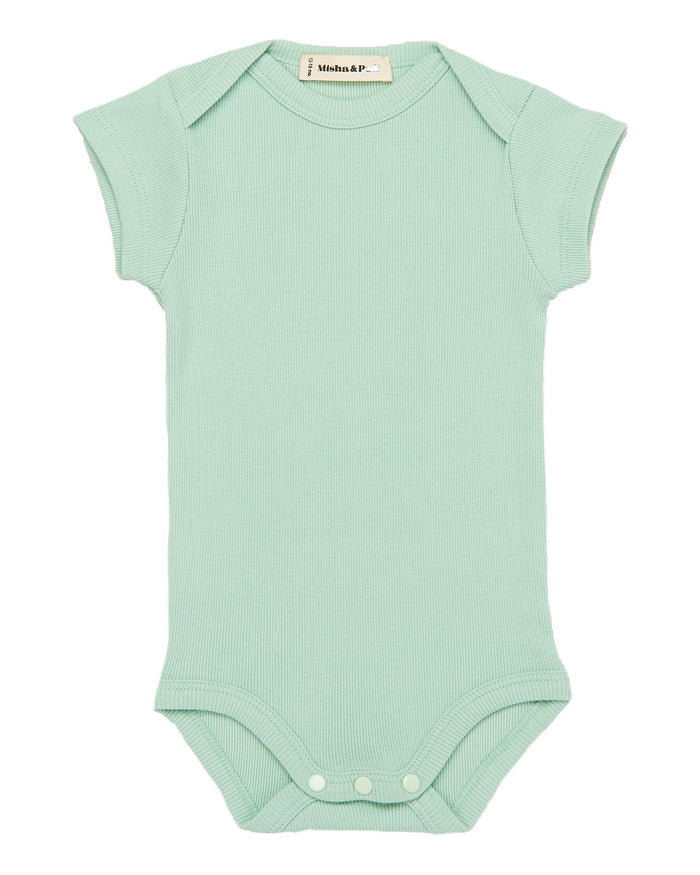 Little misha + puff baby girl ribbed onesie in seafoam