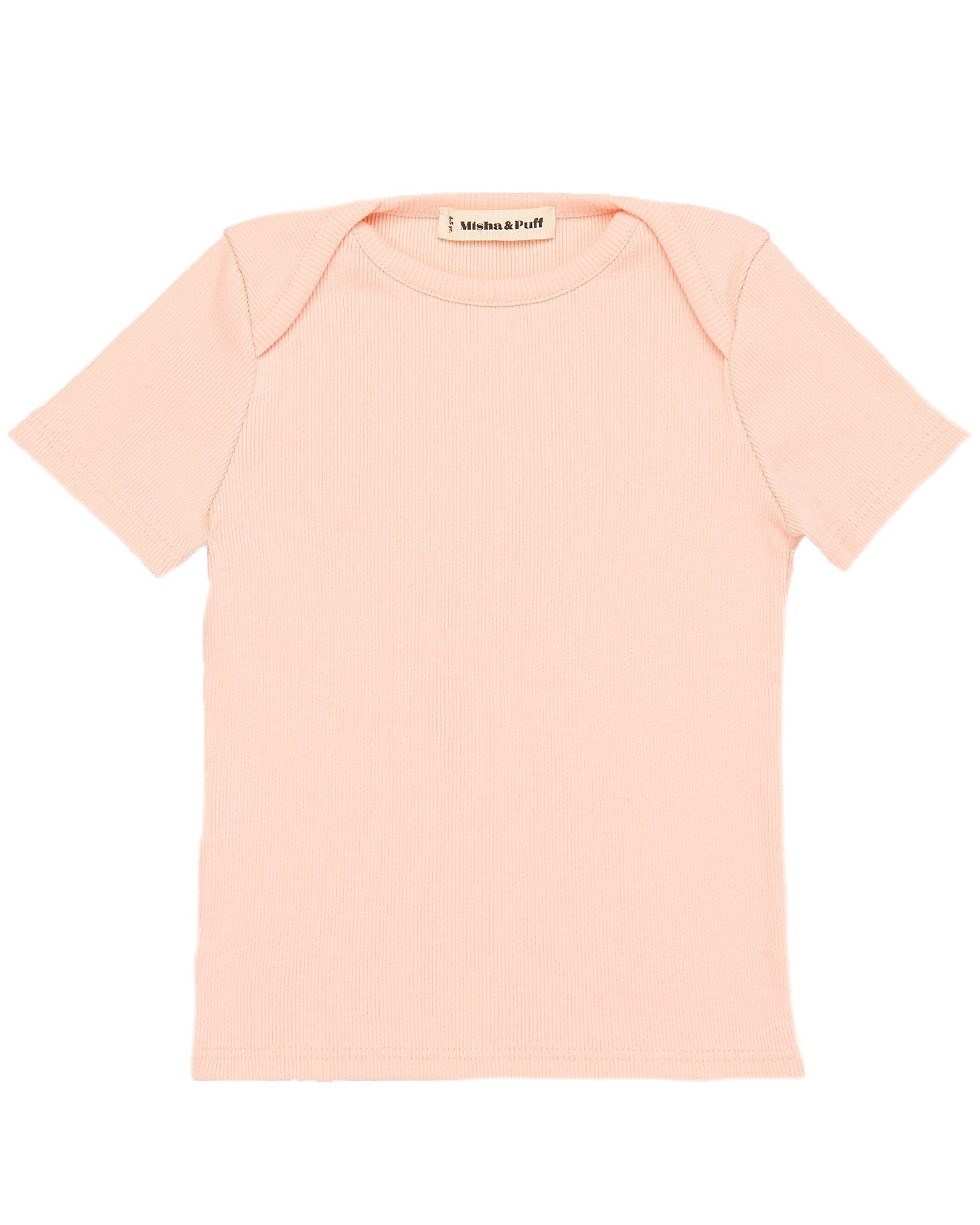 Little misha + puff baby girl ribbed slim tee in petal