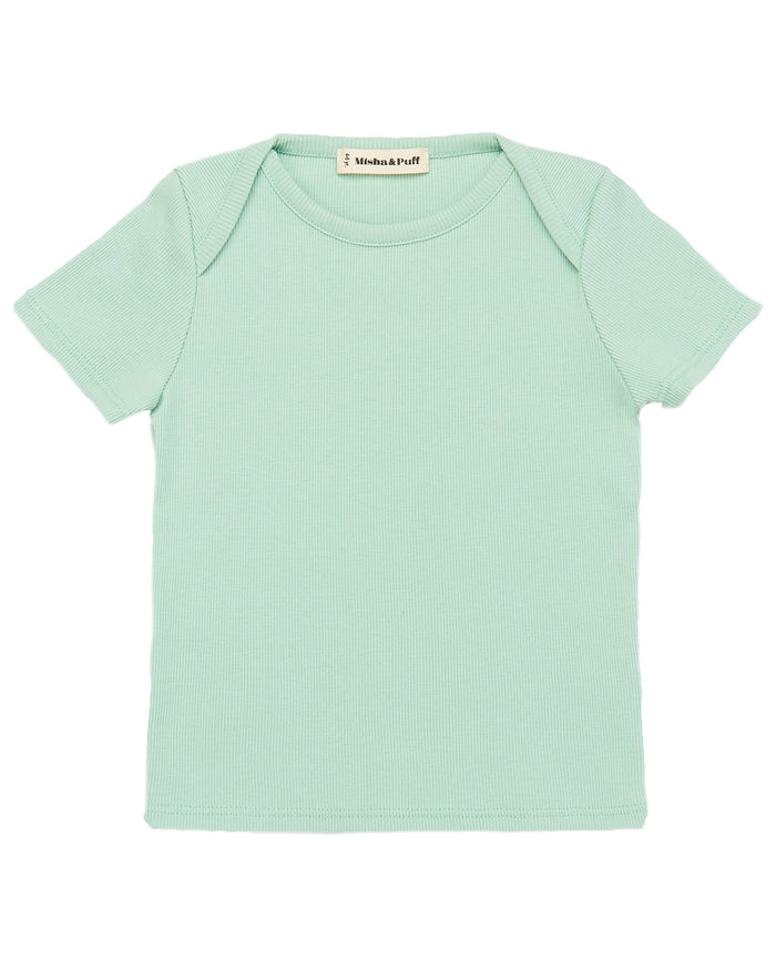 Little misha + puff baby girl ribbed slim tee in seafoam