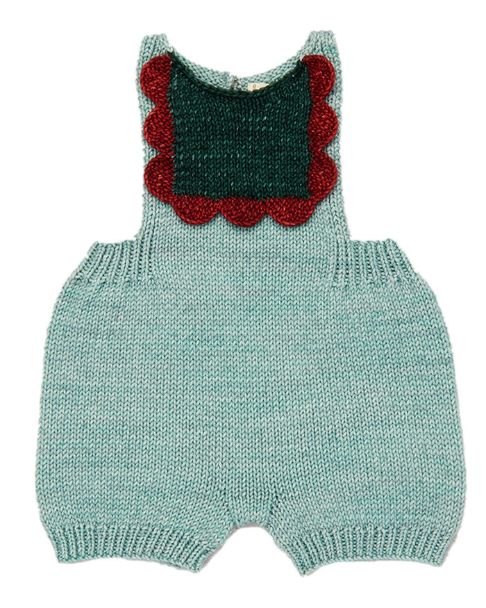 Little misha + puff baby boy scallop bib romper in sage