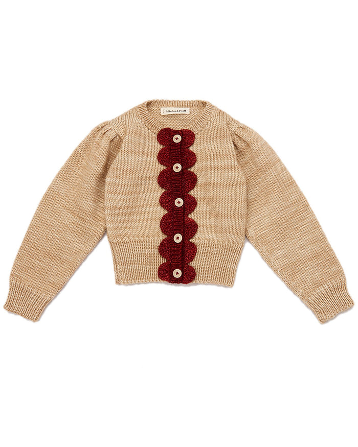 Little misha + puff girl scallop cardigan in alabaster + brick