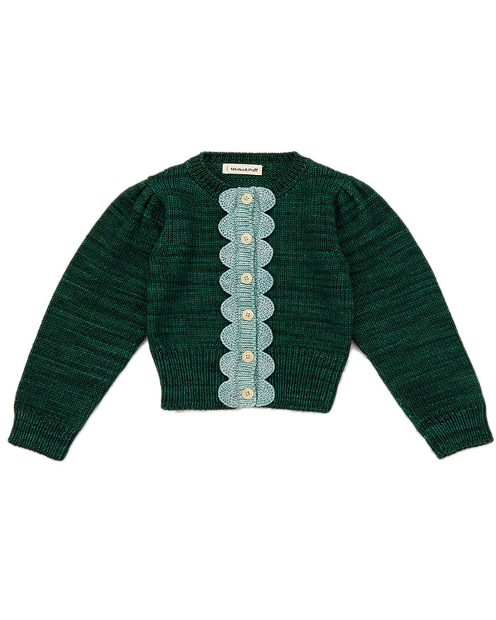 Little misha + puff girl scallop cardigan in laurel + sage