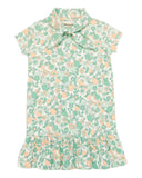 Little misha + puff girl scout dress in mint orchard print