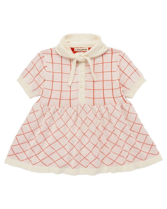 Little misha + puff girl scout tunic in vanilla + crimson red