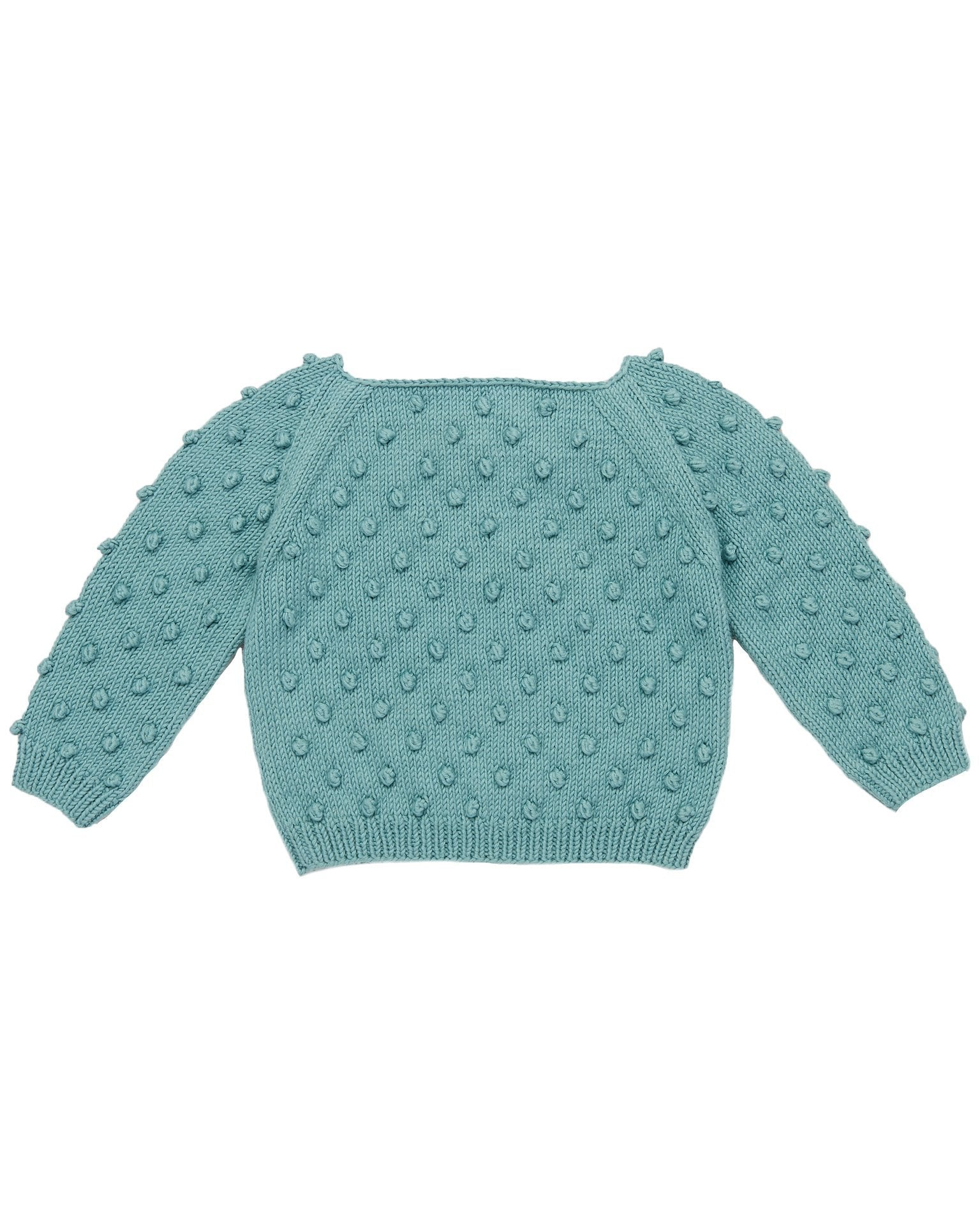Little misha + puff girl summer popcorn sweater in dusty blue