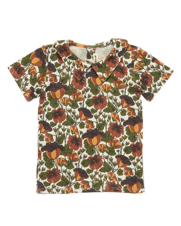 Little misha + puff girl 2-3 trumpet flower collar tee in black walnut floral