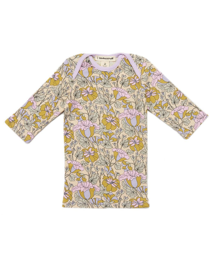 Little misha + puff baby girl 0-6 trumpet flower slim tee in lavender floral