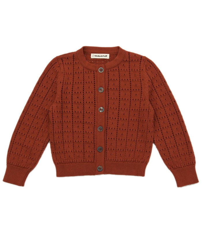 Little misha + puff boy 2-3 windowpane cardigan in rust