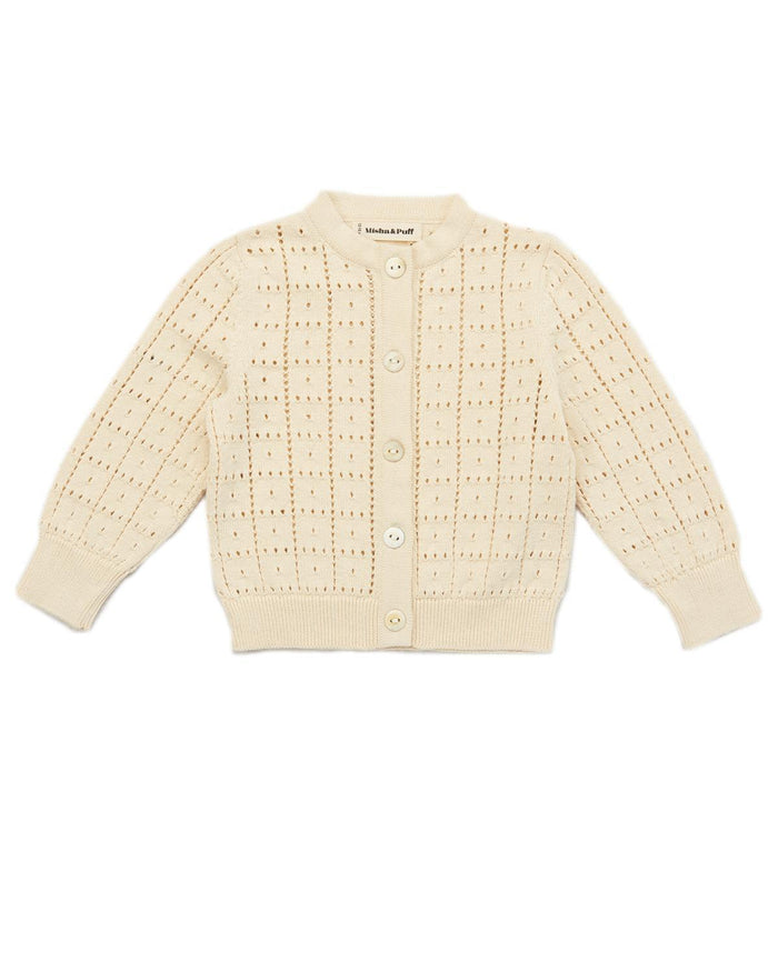 Little misha + puff baby boy 0-6 windowpane cardigan in string