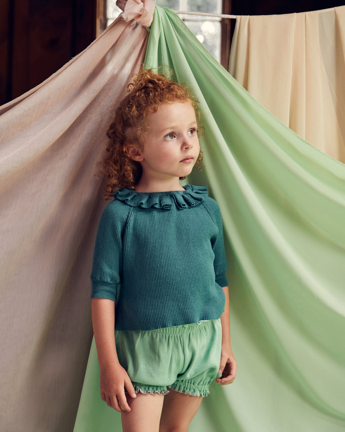 Little misha + puff girl yves top in spruce tea