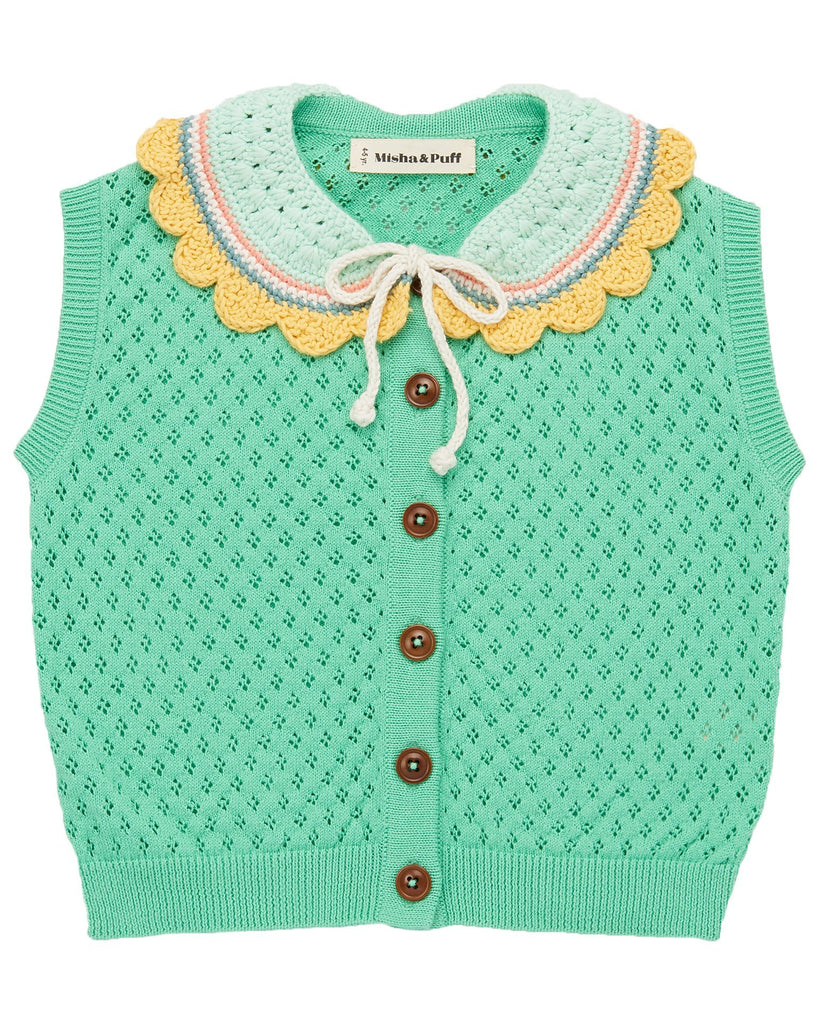 Little misha + puff girl zoe vest in jade