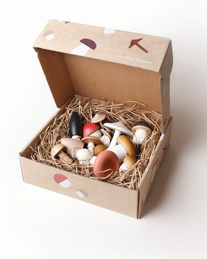 Little moon picnic play forest mushrooms in a box