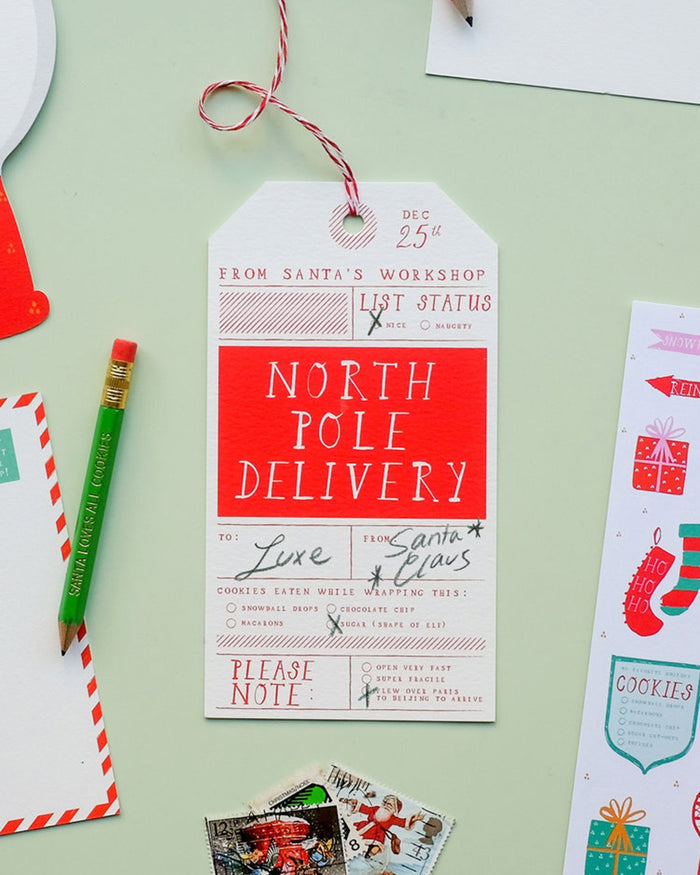 Little mr. boddington's studio paper+party north pole delivery gift tag