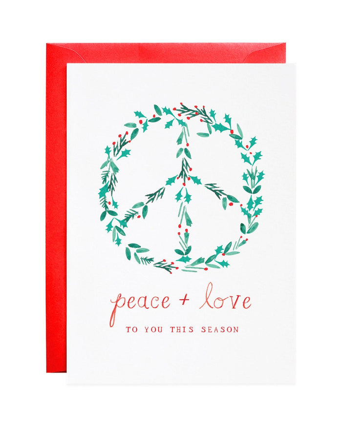 Little mr. boddington's studio paper+party peace and love to you holiday card