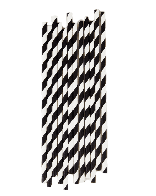 Little my little day paper+party Black Striped Paper Straws