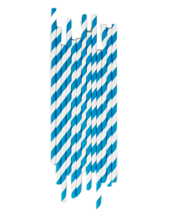 Little my little day paper+party Blue Striped Paper Straws