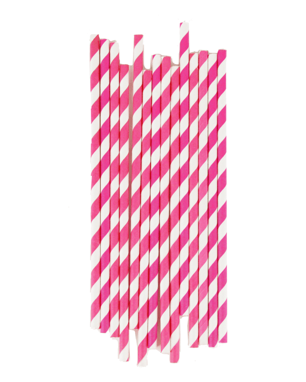 Little my little day paper+party Bright Pink Striped Paper Straws