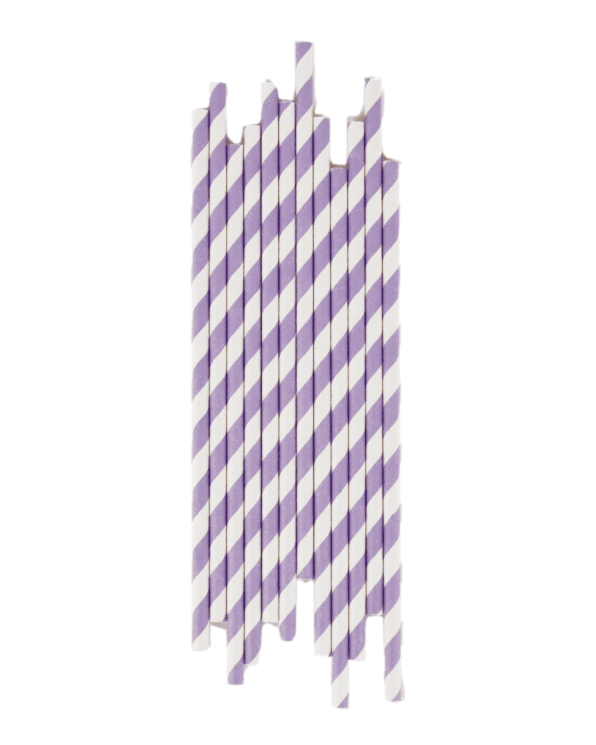 Little my little day paper+party Lilac Striped Paper Straws