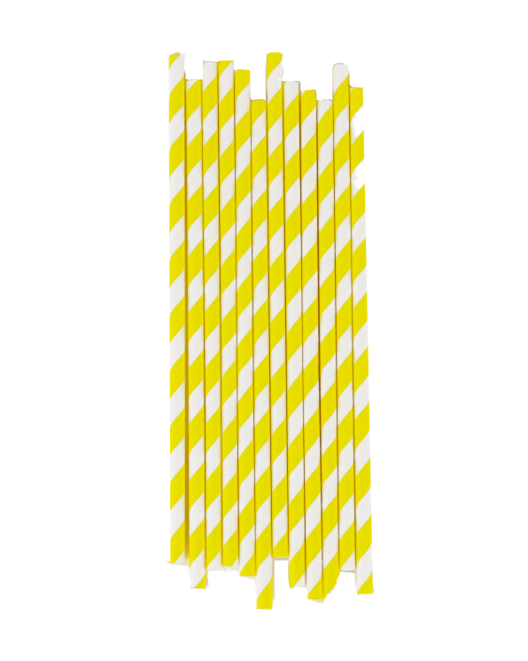 Little my little day paper+party Yellow Striped Paper Straws