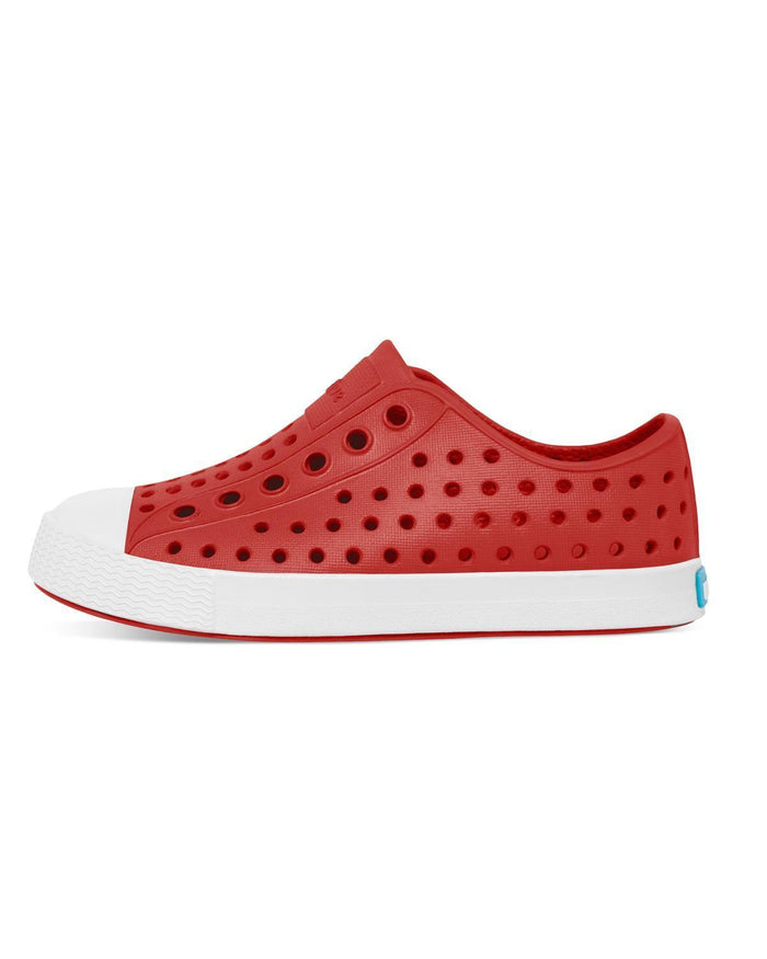 Little native shoes girl j1 jefferson junior in torch red + shell white