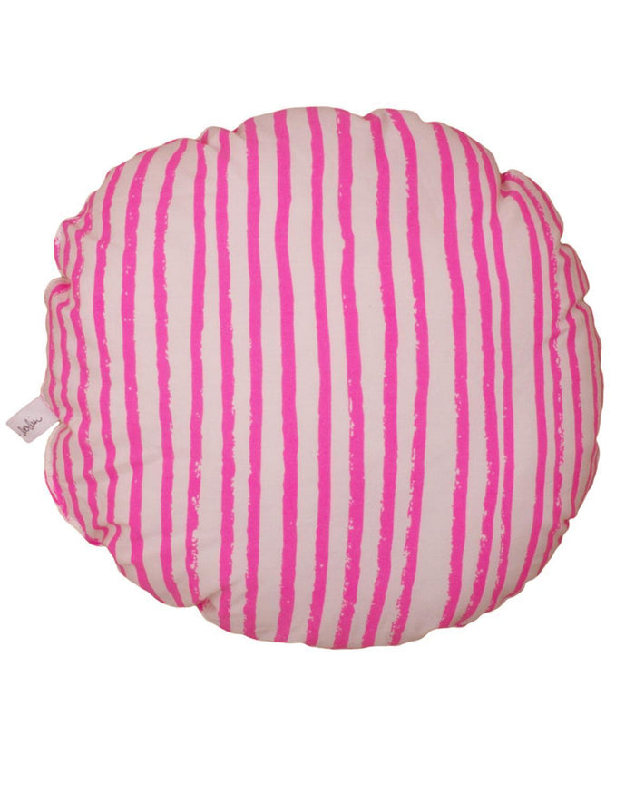 Little noe + zoe room Circle Pillow in Pink Stripes