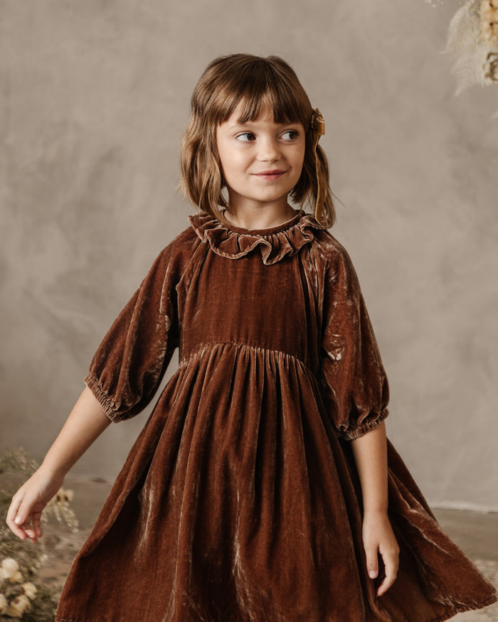 Little noralee girl adeline dress in wine