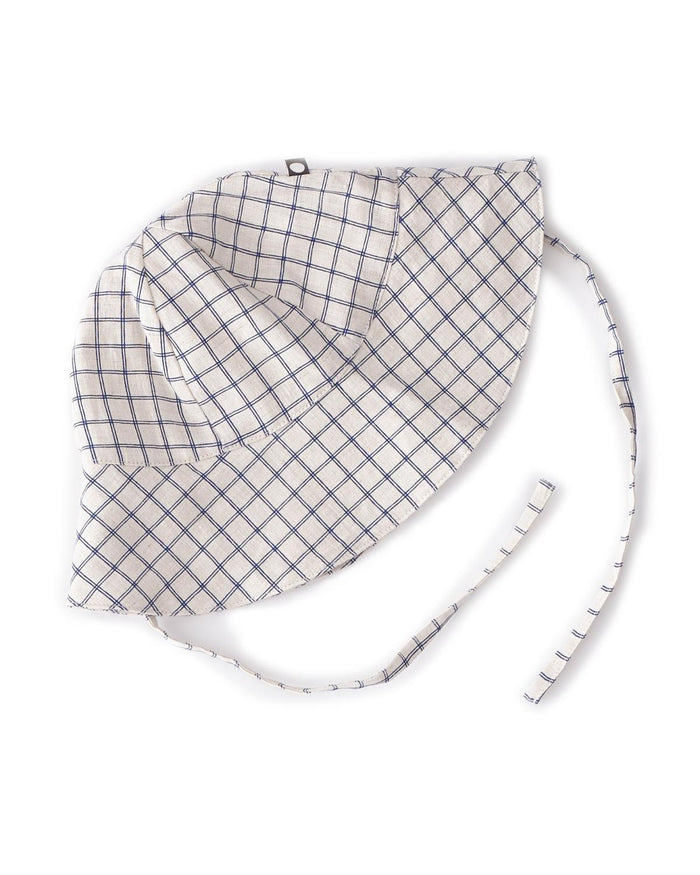 Little oeuf baby accessories 12m baby hat in blue checks