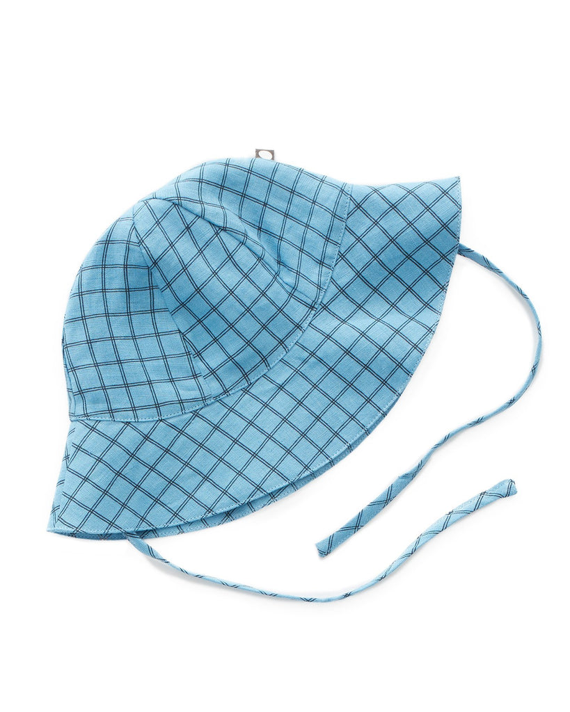 Little oeuf baby accessories baby hat in blue checks