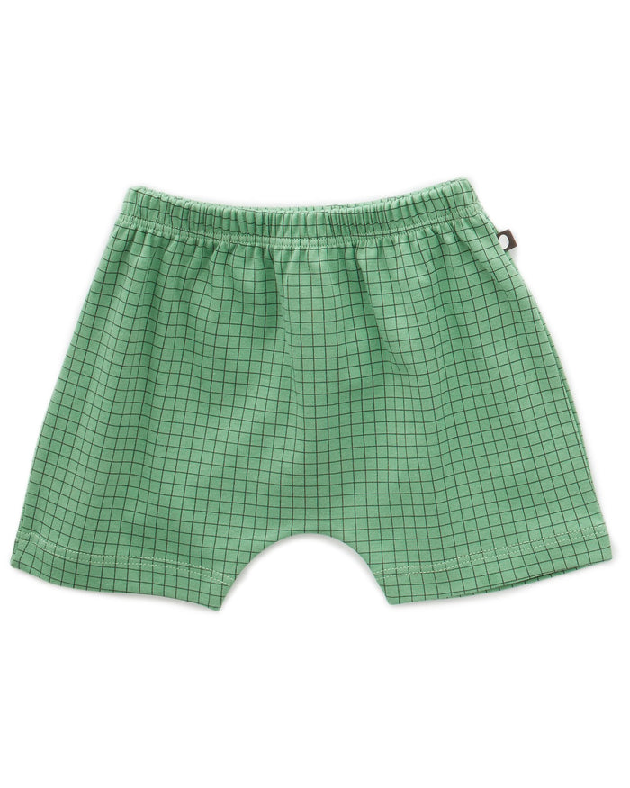 Little oeuf baby girl baby shorts in green checks