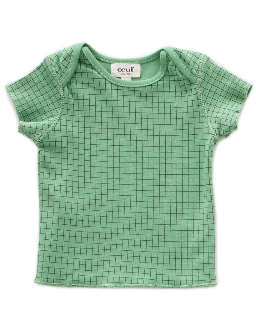 Little oeuf baby girl baby tee in green checks