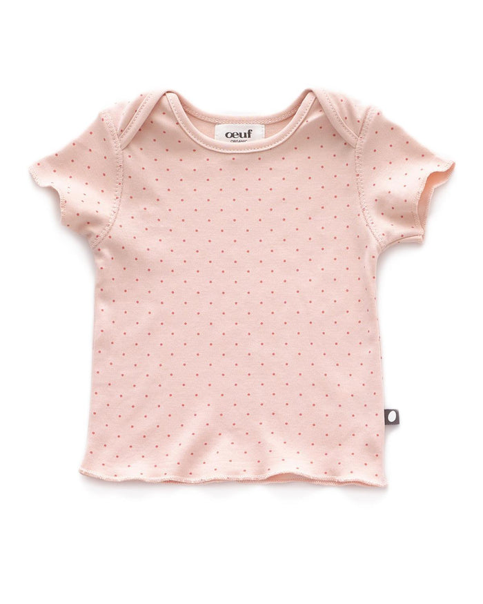 Little oeuf layette 3m baby tee in light pink + rust dots
