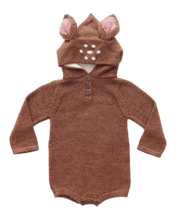 Little oeuf baby boy 3m bambi hooded onesie