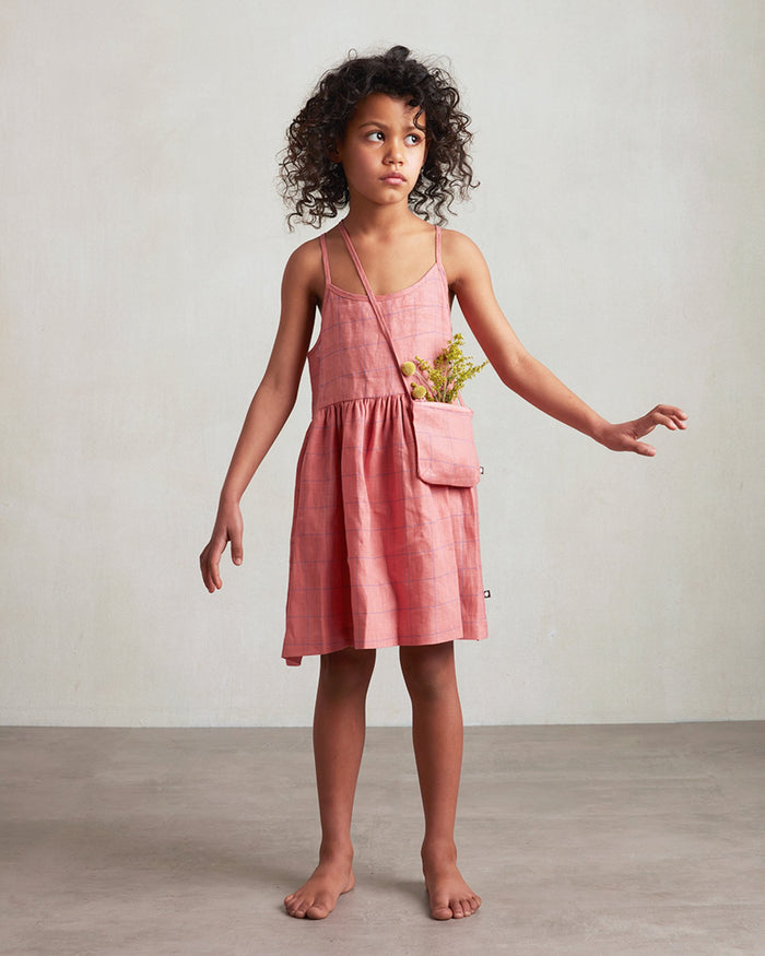 Little oeuf girl beach dress in punch pink + checks