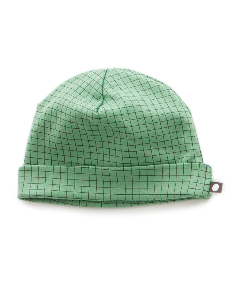 Little oeuf baby accessories beanie in green checks